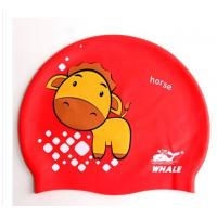 Quality 100% Silicone Funny Childrens Swimming Hats Red with Cute Animal Printed for sale