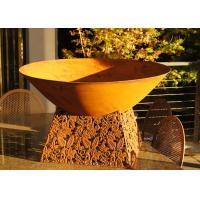 Wholesale Contemporary Design Corten Steel Fire Pit Bowl With Leaf Stand Rusty Finish from china suppliers