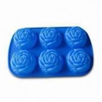 Wholesale Rose Shape Ice Cube Tray, Comes in Blue, Made of 100% Silicone, arious Shapes are Available from china suppliers