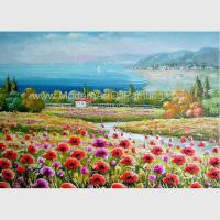 China Decorative Red Modern Floral Paintings Canvas / Realistic Flower Landscape Paintings on sale