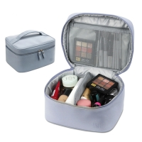 China Women Suede Surface PU Make Up Vanity Bag Case Double Zippers on sale