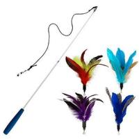 Buy cheap Retractable Cat Toy , Cat Feather Wand Toy With 1 Pole 7 Attachments Worm Birds from wholesalers