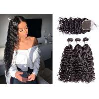 Wholesale 100% Human Hair 3 Bundles With Water Wave Closure Unprocessed Brazilian Hair from china suppliers