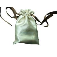 Wholesale Deux Beige Shing Satin Ribbon Drawstrings Bag, Fabric Carrier Bags 2 Side Printing from china suppliers