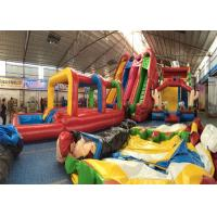 Quality Outdoor Commercial Inflatable Slide , Three Lanes Inflatable Slide For Kids And Adults for sale