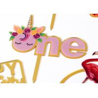 Wholesale Non - Toxic Acrylic Cake Topper For Happy Birthday / Wedding Party Decorations from china suppliers