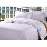 China Luxury 250TC Colorful School Hotel Bedding Sets Queen Size Plain Stripe Design on sale