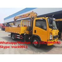 China customized SINO TRUK HOWO 4*2 LHD 4tons-6.3tons telescopic truck with crane for sale, cargo truck with crane for sale for sale