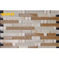 Wholesale Light Gray Interior Wavy Glass Mosaic Tile , Bathroom Mosaic Wall Tiles from china suppliers