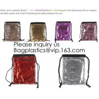 Wholesale Fashion Bling Sublimation Magic Sequin Drawstring Backpack Bag,Glitter Mermaid Flip Sequin Bag Outdoor Shoulder Reversib from china suppliers