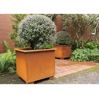 Wholesale Modern Stylish Square Metal Flower Pots / Square Metal Garden Planters Corten Steel from china suppliers