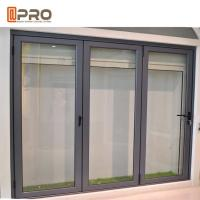 China Insulated Glass Accordion Aluminum Sliding Folding Door For Exterior Balcony on sale