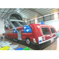 Closed inflatable bus standard slide hot fire truck inflatable dry slide fire fighting truck inflatable slide for sale