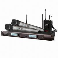 Wholesale 2 x 100CH PLL UHF Wireless Microphone System with 25MHz Modulation Range from china suppliers