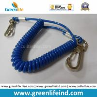 Solid Blue Plastic Elastic Spring Belt Coil Bungee Lanyard for sale