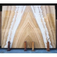 Wholesale Bookmatch Yellow and White Color Mulge Earl Royal Wood Grain Marble Wall Background from china suppliers