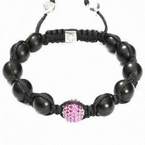 China Shamballa Bracelets with Natural Stone Onyx on sale