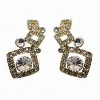 Wholesale Fashionable Stud Earrings in Square Design with Large Rhinestone Encircled from china suppliers