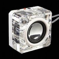 Wholesale Illuminated Cube Crystal Clear Design Mini USB Speaker from china suppliers
