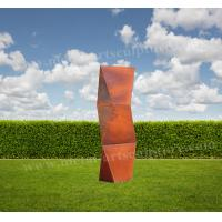 China Twist Rhombus Sculpture Huge Corten Steel Product As Residence / Lawn Ornaments for sale
