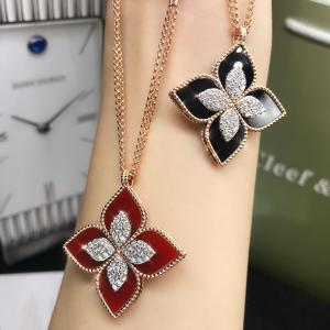 Wholesale Roberto Coin 18K VENETIAN PRINCESS MEDIUM FLOWER BLACK JADE & DIAMOND NECKLACE from china suppliers