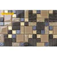 Wholesale Hotel Wall Decor Alkali - Proof Glass Mosaic Kitchen Tiles With Electroplating from china suppliers