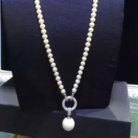 Wholesale White Shell Pearl Strands Sweater Pendant Necklace with Cubic Zirocnia Charm (SN702144) from china suppliers