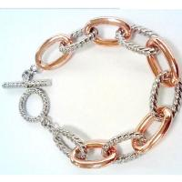 Wholesale (B-104)Designer Women's Fashion Jewelry Rose Gold Plated Oval Link Chain Bracelet from china suppliers