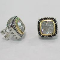 Wholesale (E-11) White Topaz Stud Earrings Designer jewelry for Womens girls friend fashion jewelry from china suppliers