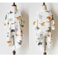 Wholesale Dinosaur Printed Muslin Baby Pajamas Easy Closure Absorbent No Fluorescent from china suppliers