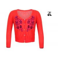 Wholesale Cotton Short Womens Shrug Sweater , Red Shrug Cardigan Sweater With Embroidered Flowers from china suppliers