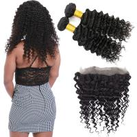 Wholesale Double Weft 360 Lace Frontal Closure / 18 Inch 360 Lace Frontal Deep Wave from china suppliers