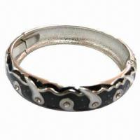 Wholesale Fashion Metal Bracelet with Lacquer Dome and Rhinestones from china suppliers