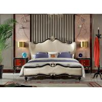Wholesale Luxury home furniture Leather Bedroom furniture set of King bed in Leather upholstered by high glossy painting furniture from china suppliers