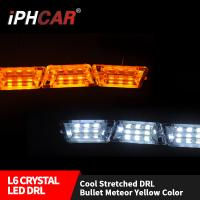 Wholesale IPHCAR Crystal Led daytime running light double colosr DRL for car led drl with turning signal flexible drl from china suppliers