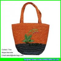 China LUDA fashion wheat straw handbag hand embroidery straw bags for kids on sale