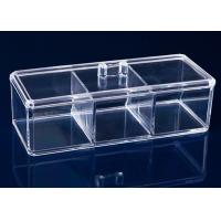 Quality 3 Compartments Acrylic Makeup Display Stand Clear Plastic Swab Box With Lid Handle for sale