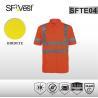 High visibility knitted rib collar reflective safety shirts  , 100% polyester birdeye mesh fabric