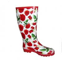 China Women's Rose Print Rubber Wellington Boots on sale