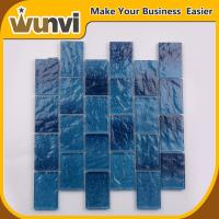 Wholesale Iridescent Glass Mosaic Tile Stirp Design For Building Blue Color from china suppliers