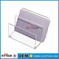 Quality china factory wholesale clear acrylic desk organizer with rubber feet for sale