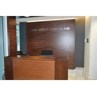 Wholesale Wooden reception desk and decorative background wall in high glossy painting Walnut plywood board from china suppliers