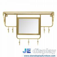 Wholesale Stainless steel wall mounted racks with mirror in brass coating Special design by hand made high end metal fixture from china suppliers