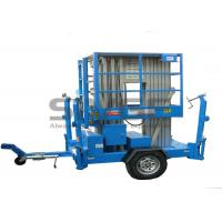 Quality Aluminium Alloy Hydraulic Work Platform , 10m Dual Mast Trailer Mounted Boom Lift for sale