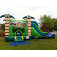 Wholesale Commercial Wet / Dry Inflatable Combo , 0.55MM PVC Jungle Inflatable bouncer With Slide from china suppliers