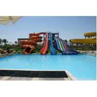 Commercial Huge Toddler Water Slide , Custom Pool Water Slides 4 Lines 6 - 8mm,TUV combination fiberglass water slide