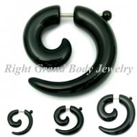 Buy cheap Black UV Acrylic Fake Spiral Ear Tapers With 16G For Wedding / Party from wholesalers