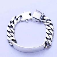 Wholesale Men Heavy Sterling Silver Chunky Chain Link ID Bracelet (056607) from china suppliers