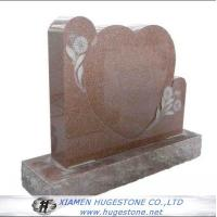 Red Heart Shaped Granite Tombstone with Lace for sale