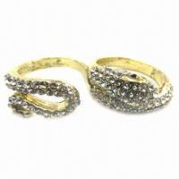 Wholesale Snake Double/Couple Ring with Rhinestones, Anti-silver Plating from china suppliers